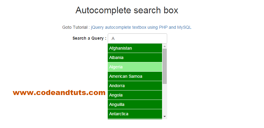 Jquery Ajax Autocomplete Example Using PHP and MySQL | CodeandTuts